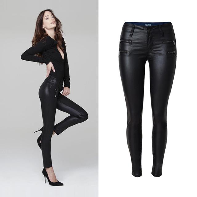 2016 New Arrival Mulheres Long Seção Baixo-Cintura Inglaterra-Estilo Pure Color PU Calças De Couro Das Mulheres Lápis Moda calças