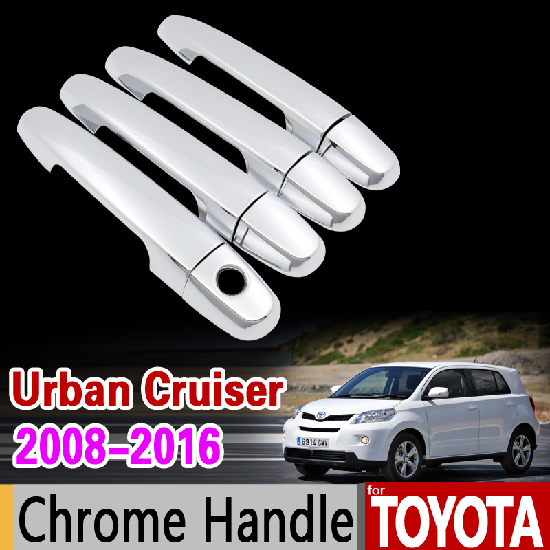 for Toyota Urban Cruiser 2008 - 2016 Chrome Handle Cover XP110 Scion xD ist 2009 2011 2013 2015 Accessories Stickers Car Styling car rear trunk security shield cargo cover for jeep compass 2007 2008 2009 2010 2011 high qualit auto accessories