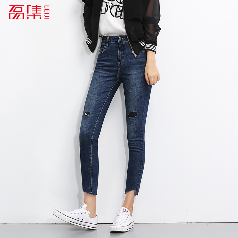 2017 LEIJIJEANS New arrival 2 colors avaliable jeans women hole  skinny  jeans ankle length mid waist low elastic 2017 leijijeans new arrival ripped jeans woman black jeans for women mid waist low elastic hole demin jeans irregular cuff