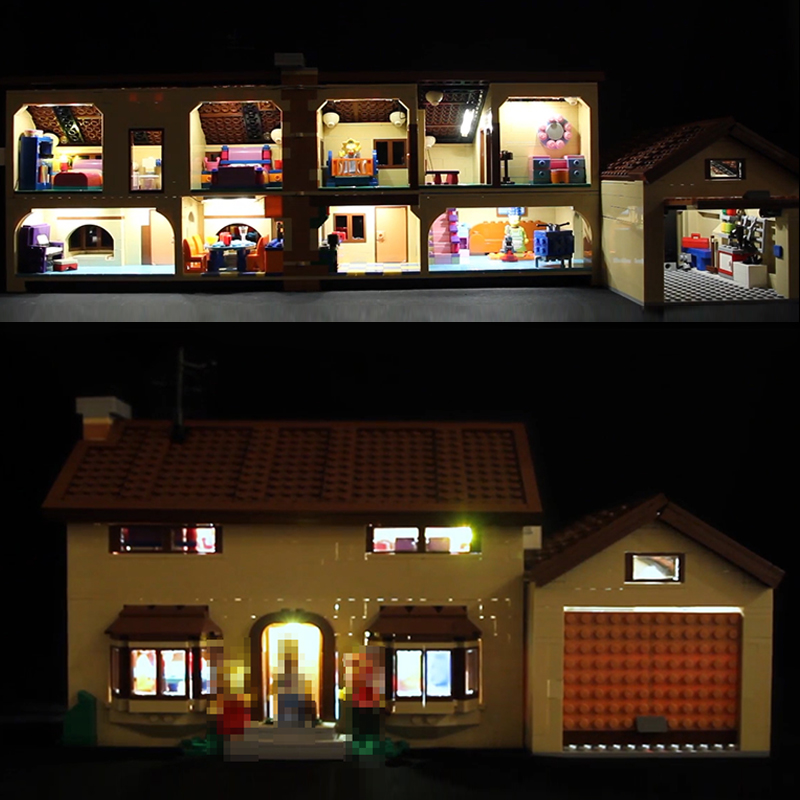 LED Light Kit for lego 71006 Compatible 16005 Simpson's house building blocks Bricks Toys Gifts (only light with Battery box) led light for lego 10235 christmas winter village market compatible 36010 building blocks bricks toys only light battery box