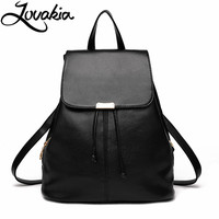 LOVAKIA Fashion Women Backpack Youth Vintage Leather Backpacks For Teenage Girls New Female School Bag Bagpack