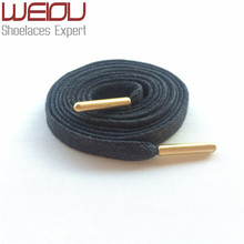 Weiou Gold metal aglets bright colored waxed dress shoe laces black boot laces cotton shoelaces for Leather shoes 115cm/125cm