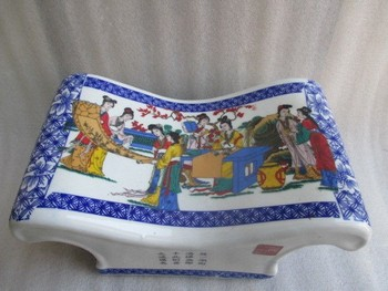 Elaborate Ancient Chinese ceramic massage health pillow ,painted with many beauties