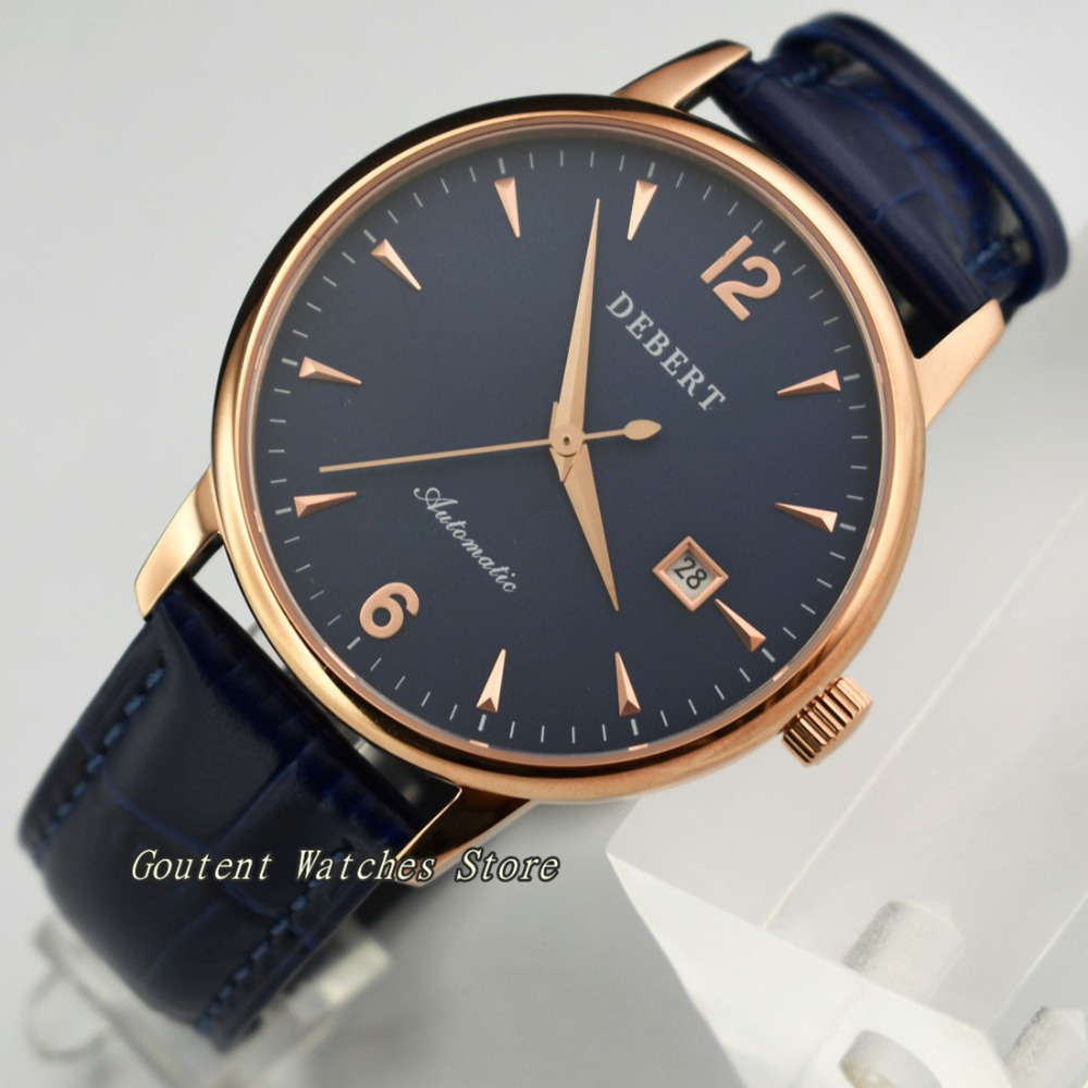 40mm Debert Date Blue Dial Rose Gold Case Sapphire Glass Automatic Men's Watch