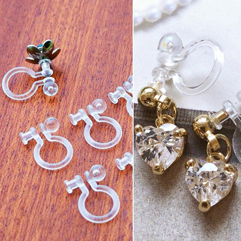 50PCS Invisible Resin Earring Clips For Non Pierced Ears With Hole Jewelry DIY