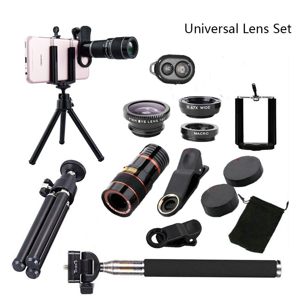 Todo en 1, teléfono, cámara, lente Kit de viaje 8X7 para iPhone 6 Plus Samsung galaxy S9 HTC para teléfonos móviles HUAWEI Xiaomi