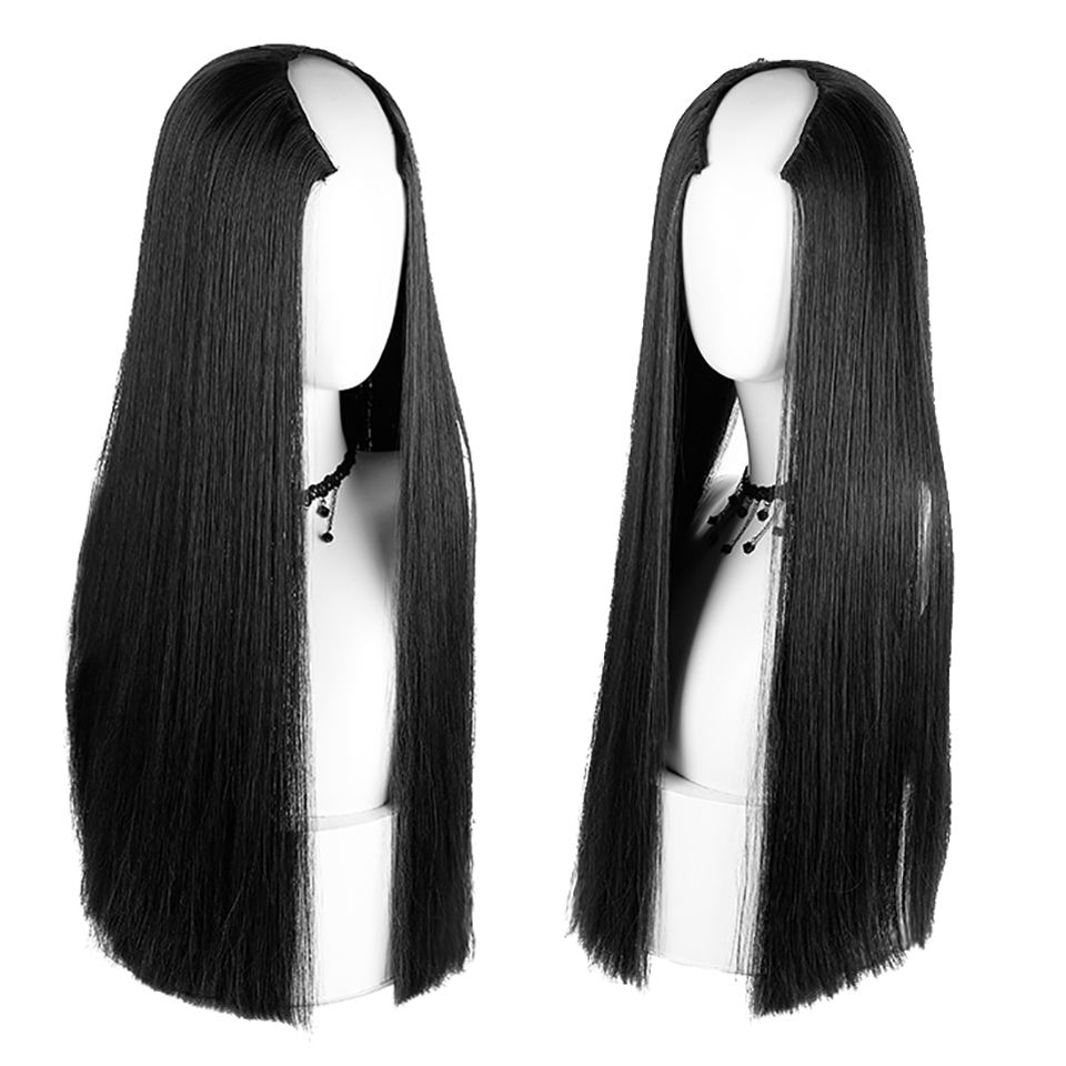 AOSIWIG Synthetic Half Wig Long Straight For Female Party Halloween High Temperature Fiber Cosplay Wig