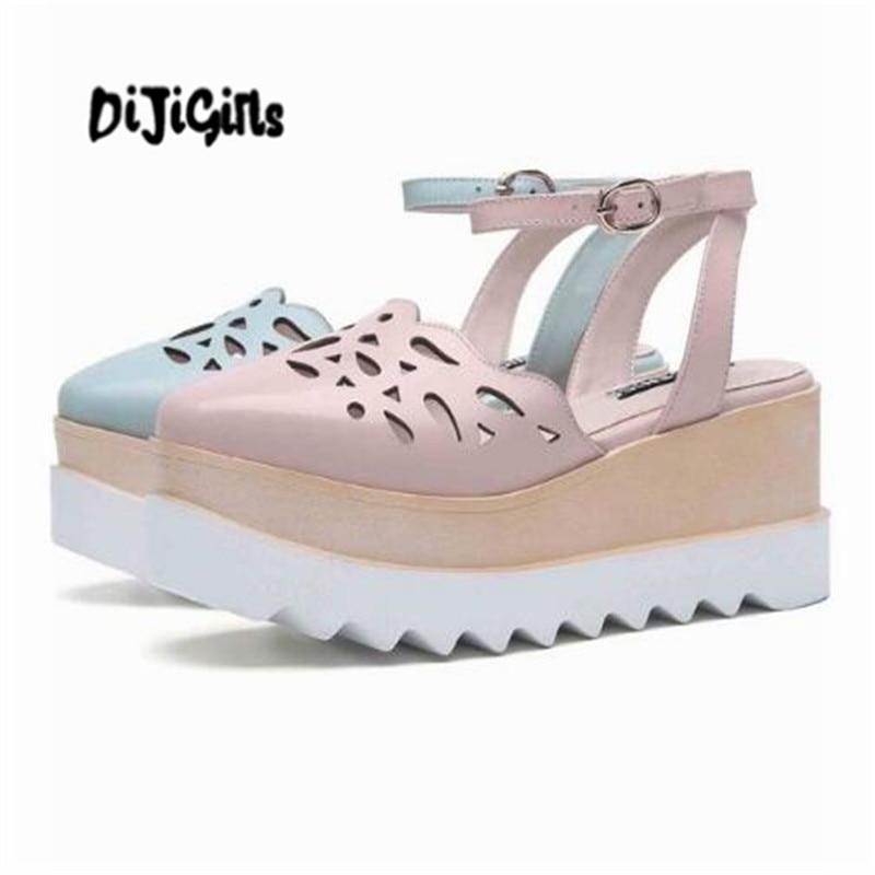 Здесь продается  DIJIGIRLS 2018 new arrival cow leather buckle straps carving hollow decoration thick bottom high heels increased sandals  Обувь