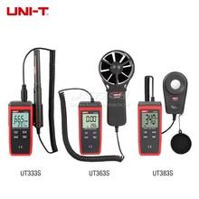 UNI-T UT333S цифровой измеритель температуры и влажности UT363S цифровой анемометр измеритель скорости ветра UT383S цифровой светильник люксметр