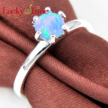 Promotion Classic Fire Round Blue Created Opal Silver Plated Wedding Rings Russia USA Holiday Gift Rings Australia Rings