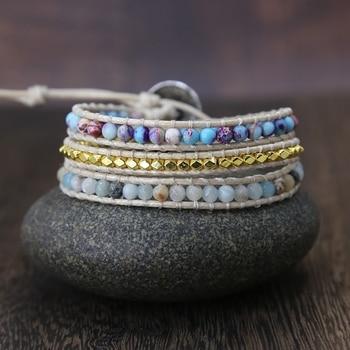 Bohemia Vintage Unique Natural Stone turquoises Charm 3Strands Wrap Bracelets Handmade