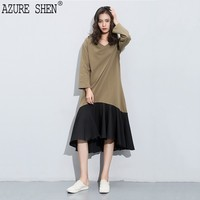 [AZURE SHEN] 2017 Winter Loose Women Dress Casual Fish Tail Spliced Patchwork A Line Draped Mid-calf Hit Color Vestidos K752