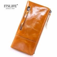 Новый Винтаж Длинный кошелек натуральная кожа женщины в два раза бумажник с изменением молния карман масло, воск, кожи, Модные Кошелек