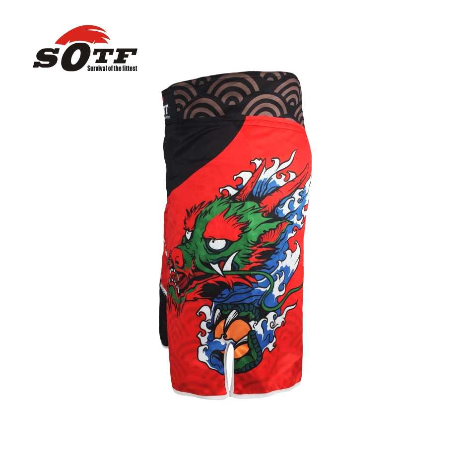 Sotf Merah Cina Naga Tempur Pelatihan Bernapas MMA Celana Tiger Muay Thai Tinju Celana Pendek Boxeo Tinju Pakaian Kickboxing
