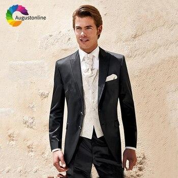 Black Slim Fit Wedding Men Suits Tuxedos Groom Wear Terno 2 Pieces(Jacket+Pants) Bridegroom Prom Formal Blazer Costume Homme