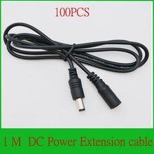 Alta qualidade 100 PCS CCTV DC Power Cabo de Extensão de 1 Metro/3FT 3 FT Jack Socket para 5.5mm x 2.1mm Plugue Macho
