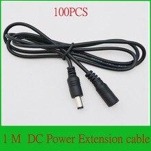 Wysokiej jakości 100 sztuk CCTV DC przedłużacz kabla 1 metr/3FT 3 FT gniazdo typu jack do 5.5mm x 2.1mm wtyk męski
