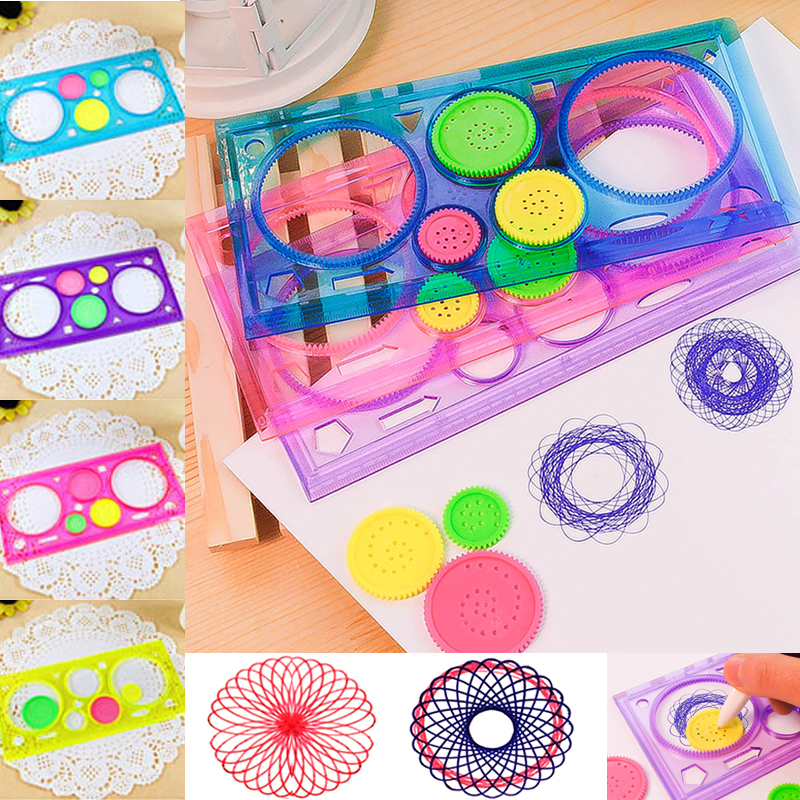 Painting Multi function Interesting Puzzle Spirograph Children Drawing Plastic Ruler Random Color Z17