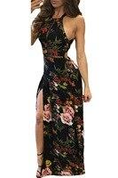 2017 Lato Sexy Kobiety Eleganckie Podłogi Długość Sukienek Floral Print Wysoka Neck Otwórz Wróć Podziel Maxi Dress Vestidos de festa