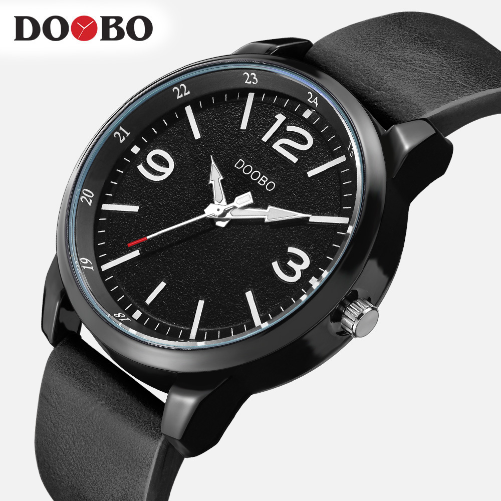 DOOBO Men Watches Top Brand Luxury Black Male Watch Fashion Leather Strap Outdoor Casual Sport Wristwatch With Big Dial D028 2016 new fashion watches men luxury top brand guanqin big dial full black sport quartz watch male wristwatch with stopwatch