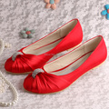 (20 Colors)Wedopus Ballet Flats Red Satin Shoes Bridal Dress Shoes Closed Toe