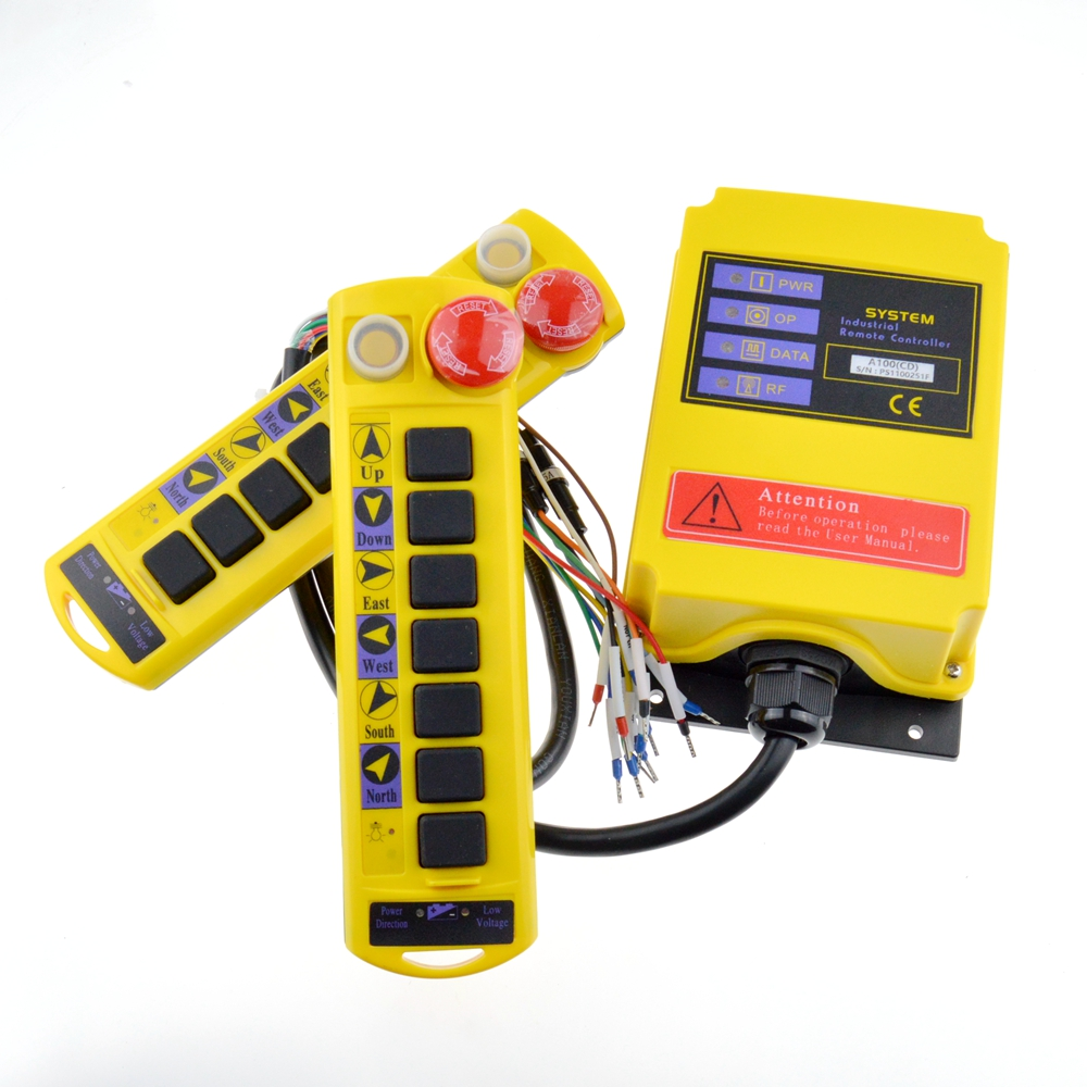 12V ~ 380VAC 1 Speed 2 Transmitters Control Hoist Crane Radio Remote Push Button Switch System Controller