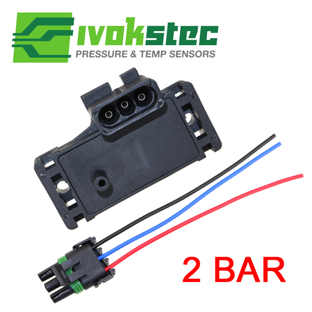 2Bar (2 Bar) MAP Sensor Turbo Boost For Opel Renault VOLVO With Plug