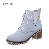 Spring Autumn Winter Women Ankle Boots Booties Square High Heels Shoes Woman Short Boots High Quality