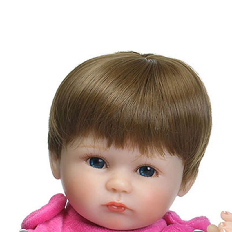 Handmade Brown and Gold High Temperature Wire Wig Short Suit 17'' Reborn Baby Dolls Accessories Realistic Baby Hair smoke powder double horsetail 100 cm high temperature wire cos wig gasai yuno
