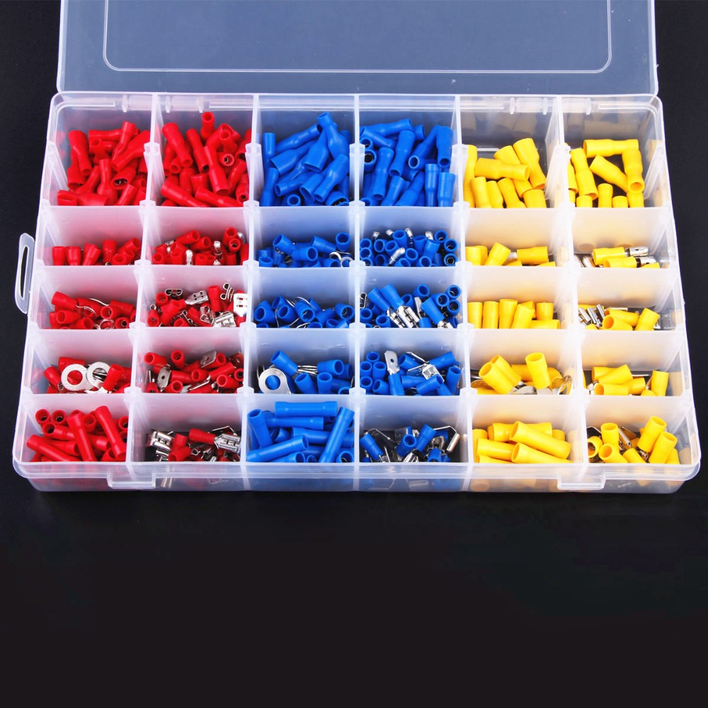 720Pcs Assorted Insulated Electrical Wire Terminals Crimp Connector Spade Set Red Yellow Blue pro skit pm 912 insulated combination pliers red yellow 175mm