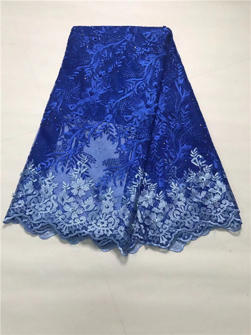 Hot Sale Tulle Lace Fabric High Quality Stone French Lace Fabric 2019 Nigerian Lace Fabrics For Women Dresses 5 Yards Royal blueHot Sale Tulle Lace Fabric High Quality Stone French Lace Fabric 2019 Nigerian Lace Fabrics For Women Dresses 5 Yards Royal blue