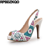 11 Pumps Slip On Plus Size Sexy Peep Toe Slingback Extreme Stiletto Women Sandals 2018 Summer Shoes Floral Print High Heels