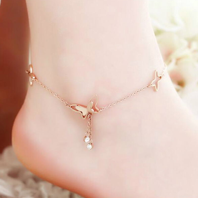 famous brand butterfly shape cartoon Fine Jewelry Genuine Gold Plated Anklets Women Fashion Jewelry Anklet female simple