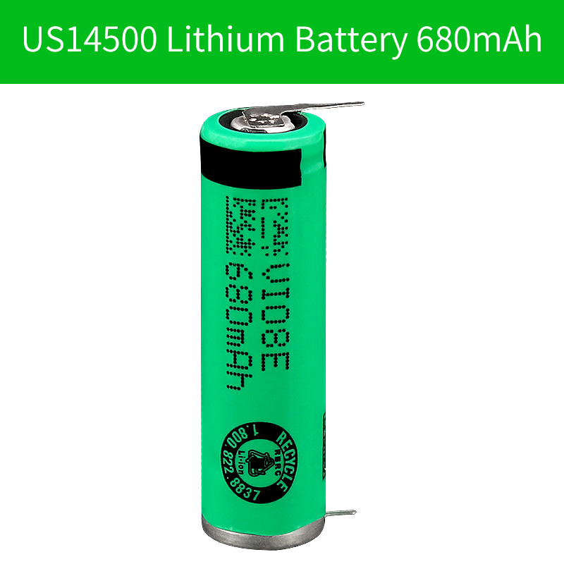 MP <font><b>3.7V</b></font> US14500 680mAh Lithium-<font><b>ion</b></font> Rechargeable <font><b>Batteries</b></font> ICR 14500 <font><b>li</b></font>-<font><b>ion</b></font> <font><b>batteries</b></font> with solder sheet for electronic toy image