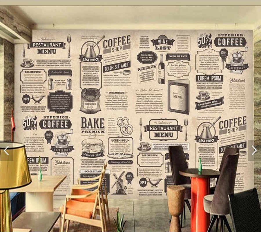 Custom retro wallpaper, hand drawn Food icon newspaper for living room restaurant coffee shop background wall vinyl wallpaper