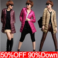 New 2015 High Quality Fashion Designer autumn Winter European Women Long Down Parkas 90% Duck Down Jacket Women Coat N437