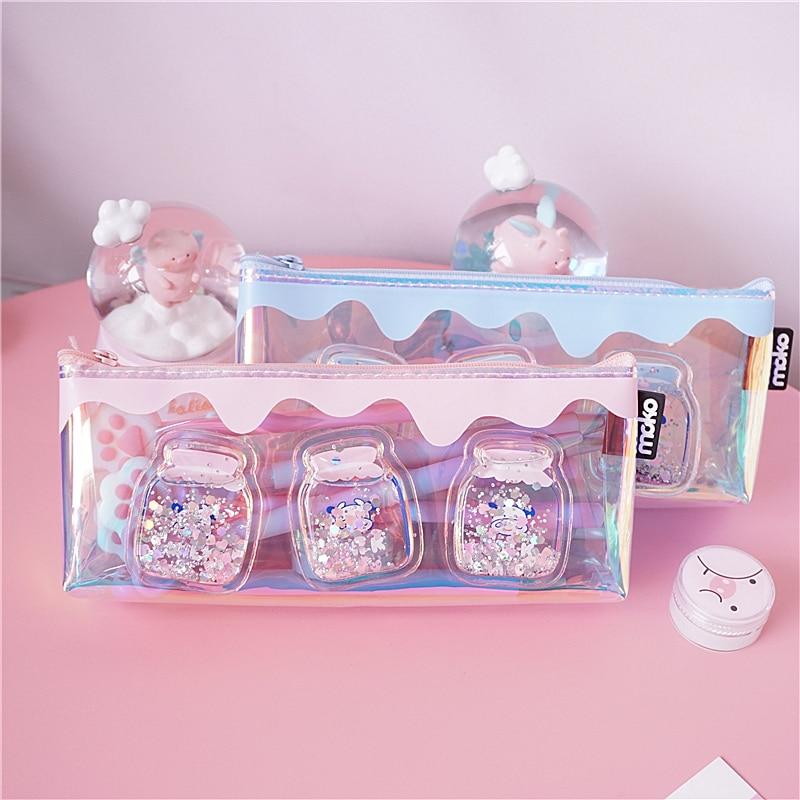Cute Laser Milk bottle Pencil Case Iridescent Laser Cute Transparent Pattern School Supplies Stationery Christmas Gift|Pencil Cases| |  - title=