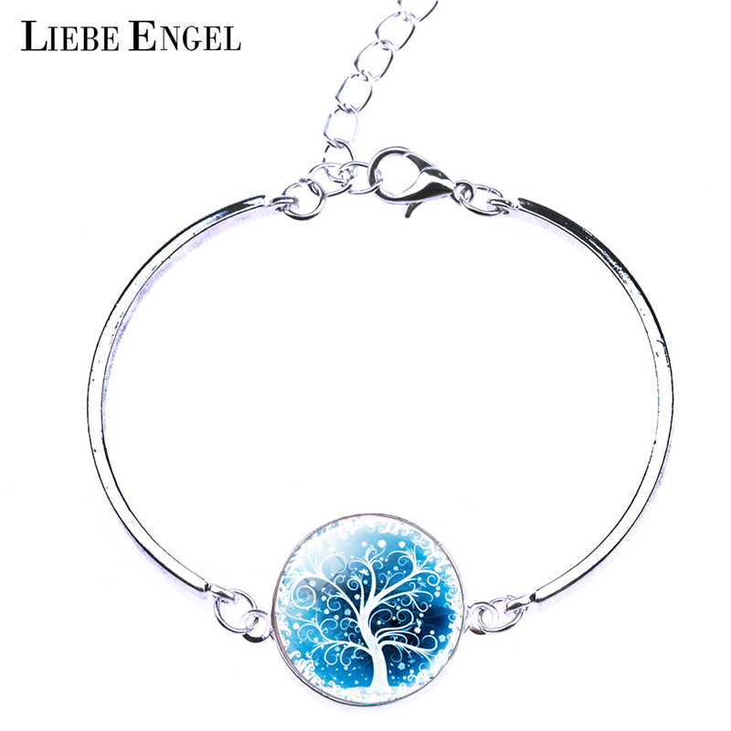 LIEBE ENGEL Vintage Silver Color Jewelry Women Fashion Life Tree Bangles Bracelets Newest Glass Cabochon Bracelet Fine Jewelry