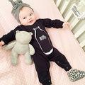 Novo 2017 moda preto do bebê macacão de bebê menino roupas de manga longa de algodão do bebê recém-nascido menina roupas macacão infantil