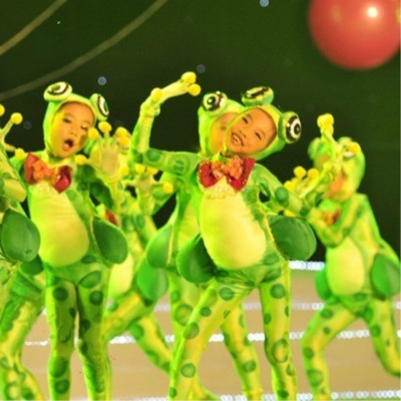 Little frog love singing children's costumes sixty-one cartoon group performance clothing happy small frog animal dance clothes