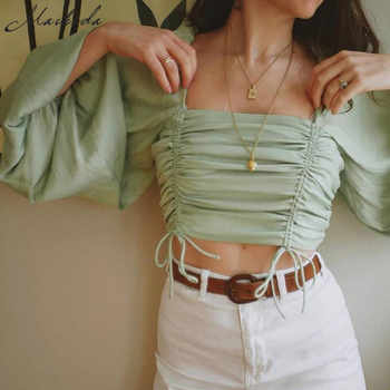 Macheda Summer Short Square Collar Women Pleated Adjustable Drawstring Tops Vintage Puff Sleeve Casual Solid T Shirt 2019 New - DISCOUNT ITEM  50% OFF All Category
