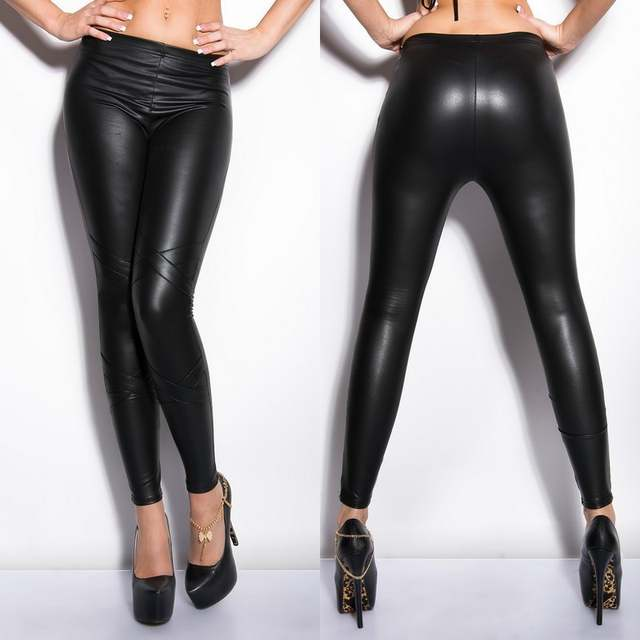 11d2a2e2678f73 placeholder Women Slim Sknniy Black PU Leather Leggings Pencil Pants Low  Waist Naked Leggings