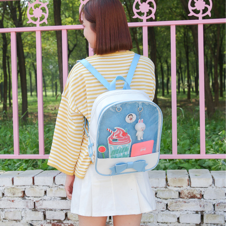 2019 Transparent Backpacks Women Lovely Japanese Harajuku Bag Female Summer Itabag Girls Designer Ita Bags Ladies School Bolsa
