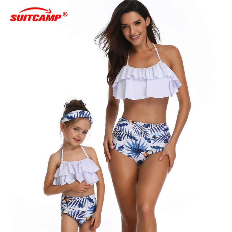Two Piece Parent-child Swimsuit High Waist Bikini Womens Swimming Suit Swimwear Girls Bathing