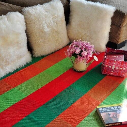 Rustique 100% coton orange vert plaid tapis tapis de protection piaochuang pad canapé coussin