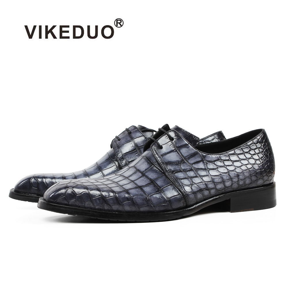 цены VIKEDUO 2018 New Men's Derby Dress Shoes Genuine Crocodile Leather Plaid Formal Wedding Office Shoe Male Classic Patina Zapatos