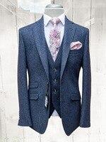 Новый твид темно синие костюм для мужчин смокинг жениха Стиль Блейзер Slim Fit костюмы на выпускной, свадьбу мужской костюм куртка + жилет брюки