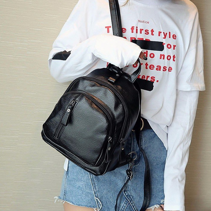WENYUJH Women PU Leather Backpack Women Casual Backpacks Black Small Zipper Bags Student Rucksack