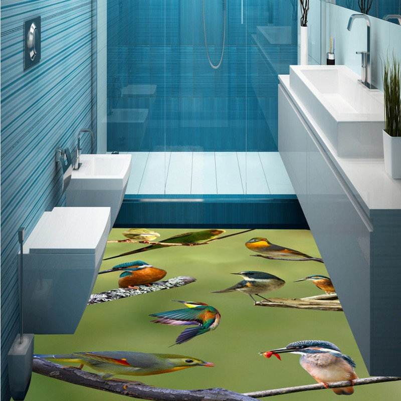 купить Free Shipping Branch birds fashion flooring wallpaper living room restaurant home non-slip PVC floor mural high quality по цене 7992.84 рублей