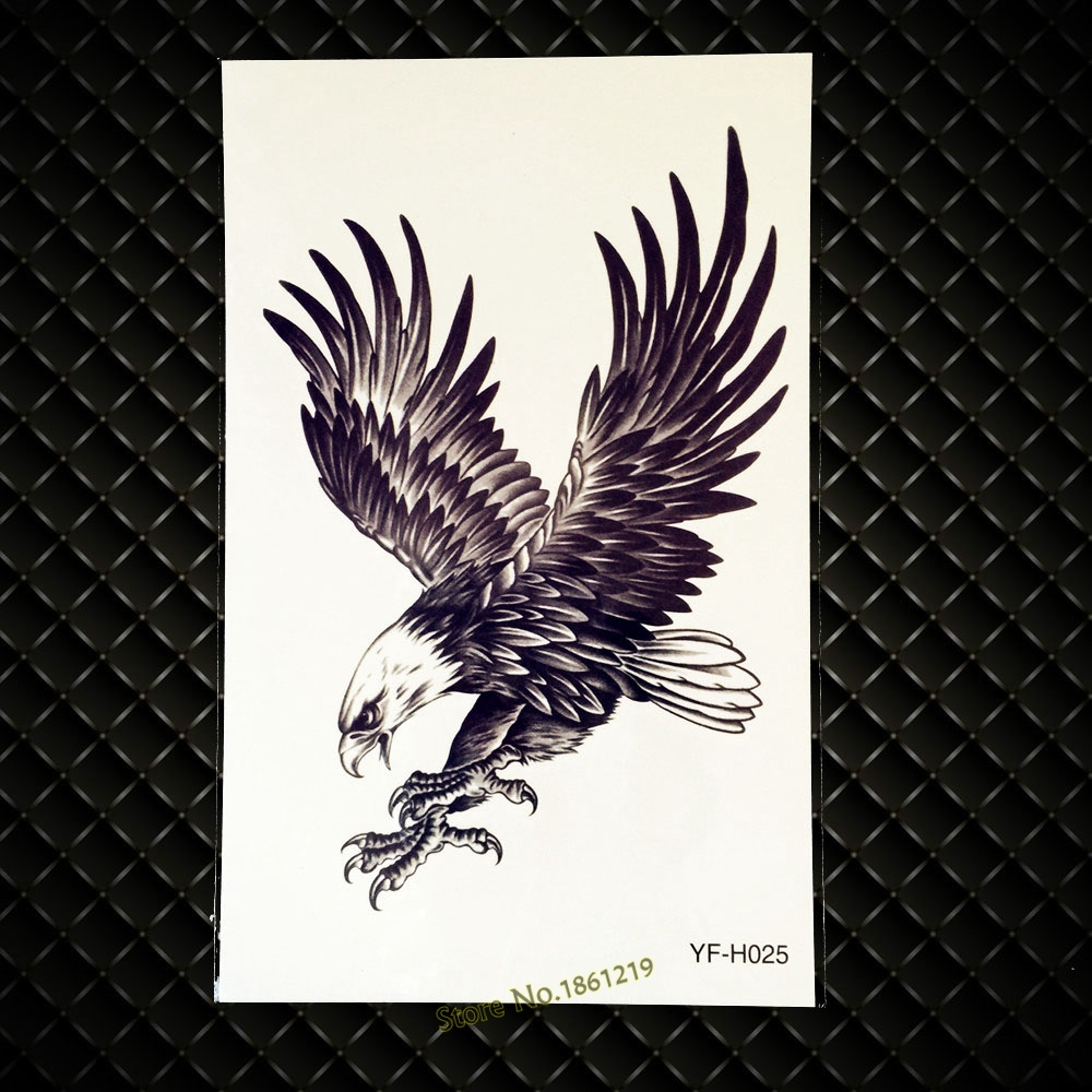 Us 083 3d Latające Czarny Orzeł Fałszywy Wodoodporny Tatuaż Ciało Ramię Ptak Body Art Hawk Tatuaże Sexy Man Tymczasowe Rękawy Tatuaże Mężczyzn